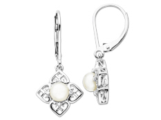 Pearl Earrings with Diamonds in Sterling Silver