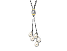 Pearl Drop Necklace with Diamonds in Sterling Silver and 14K Gold