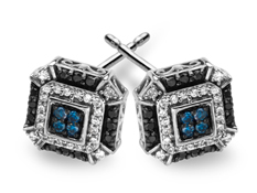 1/2 ct Green, White and Black Diamond Stud Earrings in 14K White Gold