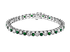 4 1/3 ct Emerald and White Sapphire Bracelet in Sterling Silver