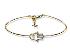 1/6 ct Diamond Hamsa Bangle in 10K Gold