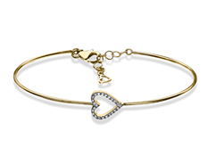 1/6 ct Diamond Heart Bangle in 10K Gold