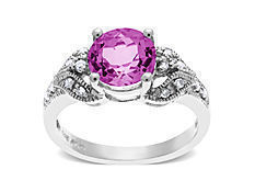 Pink Tourmaline Ring with Diamonds in 14K White Gold