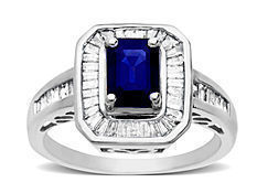 1 1/6 ct Sapphire and 3/4 ct Diamond Ring in 14K White Gold