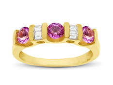 Pink Sapphire and Diamond Ring in 14K Gold