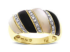 Onyx and Mother of Pearl Ring with Diamonds in 14K Gold