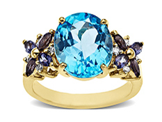 Swiss Blue Topaz and Iolite Ring in 14K Gold with Diamonds