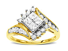 1 ct Princess-Cut Diamond Ring in 14K Gold