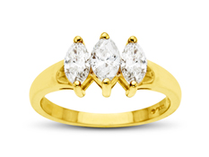 7/8 ct Three-Stone Marquise-cut Diamond Anniversary Ring in 14K Gold