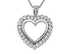 1 ct Diamond Heart Pendant in 14K White Gold