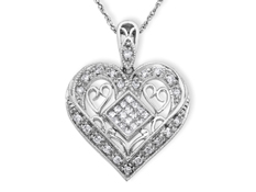 1/3 ct Diamond Heart Pendant in 14K White Gold