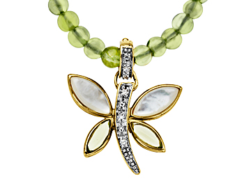 Mother-of-Pearl Butterfly Necklace in 14K Gold with Peridot Strand and Diamonds from Jewelry.com
