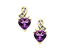 Amethyst Heart Stud Earrings with Diamonds in 14K Gold