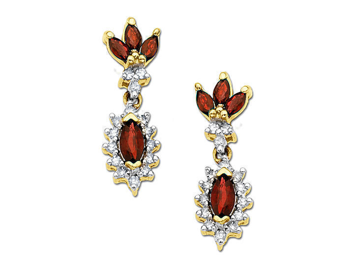 Ruby and 1/3 ct Diamond Earrings in 14K Gold from Jewelry. com