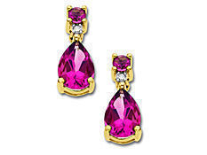 Rose Mystic Topaz Earrings with Diamonds in 14K Gold