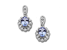 Tanzanite and 1/3 ct Diamond Earrings in 14K White Gold