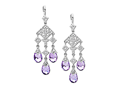 8 1/6 ct Amethyst and 1/8 ct Diamond Chandelier Earrings in 14K White Gold