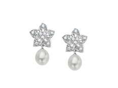 Freshwater Pearl and 1/5 ct Diamond Flower Earrings in 14K White Gold