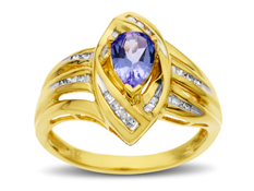 3/4 ct Tanzanite Ring with Diamonds in 14K Gold