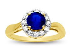 Blue and White Sapphire Ring in 14K Gold