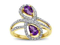 Amethyst and Diamond Ring in 14K Gold