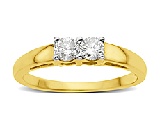 3/8 ct Duo Diamond Ring in 14K Gold