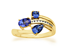 Three-Stone Tanzanite Ring with Diamonds  in 14K Gold