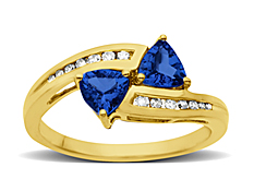 Sapphire Ring with Diamonds in 14K Gold