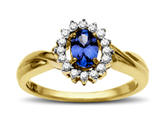 Tanzanite and 1/8 ct Diamond Ring in 14K Gold