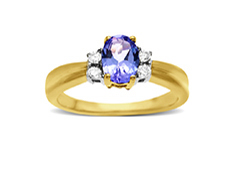 Tanzanite and Diamond Ring in 14K Gold