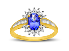 Tanzanite and 1/3 ct Diamond Ring in 14K Gold