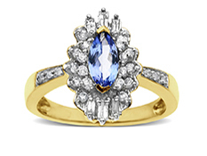 Tanzanite and 3/8 ct Diamond Ring in 14K Gold