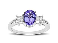 1 1/4 ct Tanzanite and 1/5 ct Diamond Ring in 14K White Gold