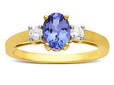 3/4 ct Tanzanite and 1/6 ct Diamond Ring in 14K Gold