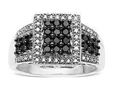 5/8 ct Black and White Diamond Ring in 14K White Gold