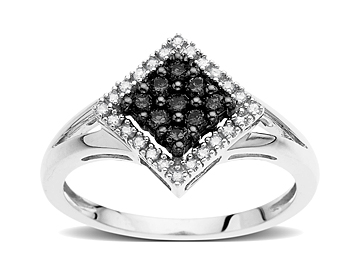 1/4 ct Black & White Diamond Ring in 14K White Gold from Jewelry.com