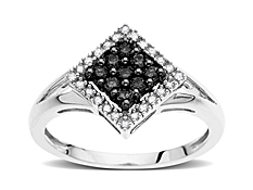 1/4 ct Black & White Diamond Ring in 14K White Gold