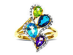 Peridot, Amethyst, Blue Topaz and Iolite Ring with Diamonds in 14K Gold