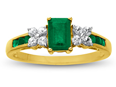 1 1/10 ct Emerald and White Sapphire Ring in 14K Gold