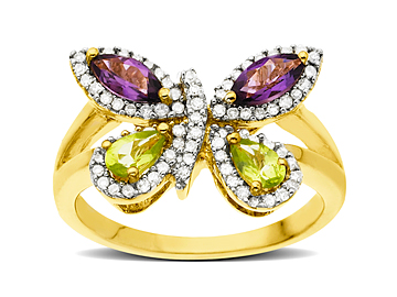 Peridot, Amethyst and 1/4 ct Diamond Butterfly Ring in 14K Gold from Jewelry.com