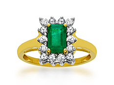 Emerald and White Sapphire Ring in 14K Gold