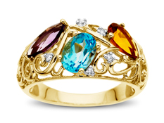 Amethyst, Swiss Blue Topaz, and Citrine Ring with Diamonds in 14K Gold
