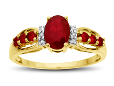 1 1/10 ct Ruby Ring with Diamonds in 14K Gold