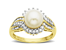 8 mm Pearl and 1/4 ct Diamond Ring in 14K Gold