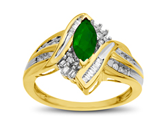 5/8 ct Emerald and 1/4 ct Diamond Ring in 14K Gold