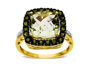 4 1/2 ct Green Amethyst and Green Tourmaline Ring in 14K Gold with Diamonds