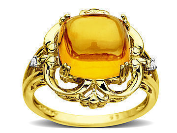 Citrine Ring in 14K Gold with Diamonds