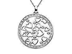 1/3 ct Diamond Circle and Heart Pendant in 14K White Gold