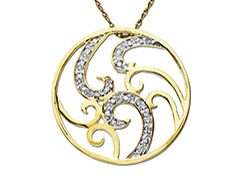 1/10 ct Diamond Swirl Pendant in 14K Gold