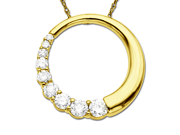 3/4 ct Diamond Circle Pendant Necklacein 14K Gold from Jewelry.com